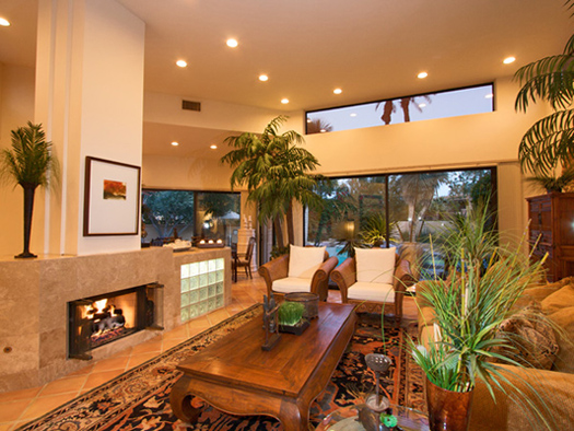 enjoy views and fireplace in the living room
